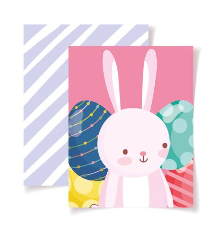 happy easter card cute rabbit decorated eggs stripes background Çizim