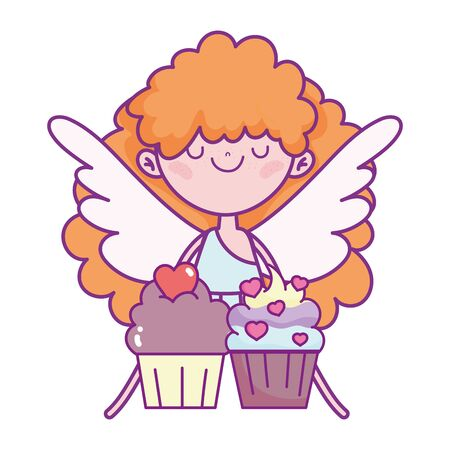 happy valentines day, cute cupid with sweet cupcakes love 写真素材 - 141554127