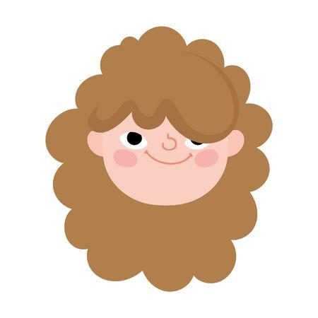 cute little girl face character cartoon icon