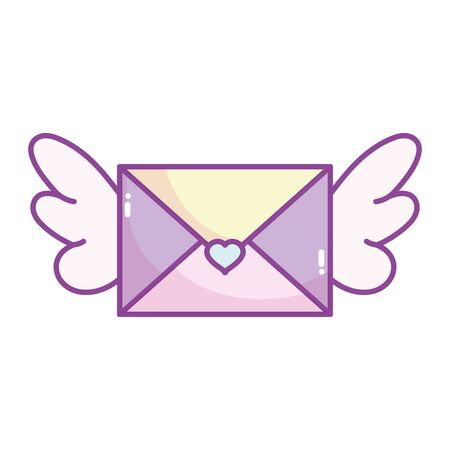 happy valentines day, envelope mail with wings heart cartoon vector illustration