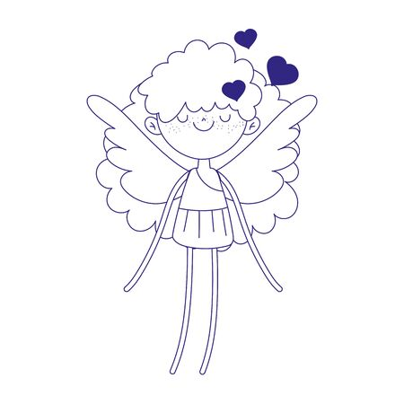 happy valentines day, cupid with wings cartoon character line style