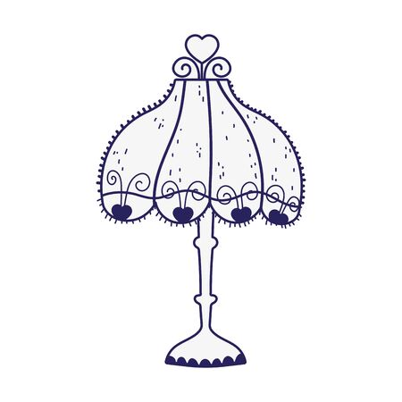 vintage floor lamp lampshade hearts decoration icon vector illustration line style