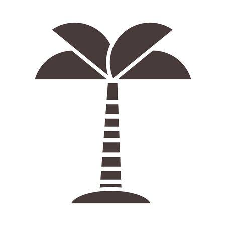 tropical palm tree sand exotic botanical vector illustration silhouette style icon Çizim