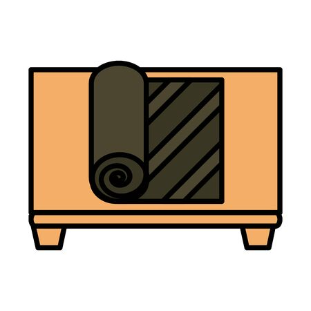 sushi oriental menu nori seaweed in wooden board vector illustration line and fill style icon
