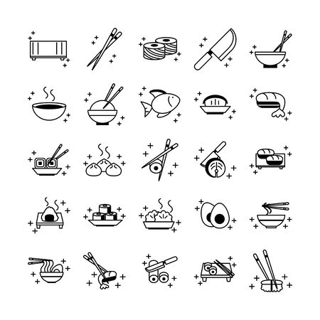 sushi oriental menu icons set vector illustration line style icon
