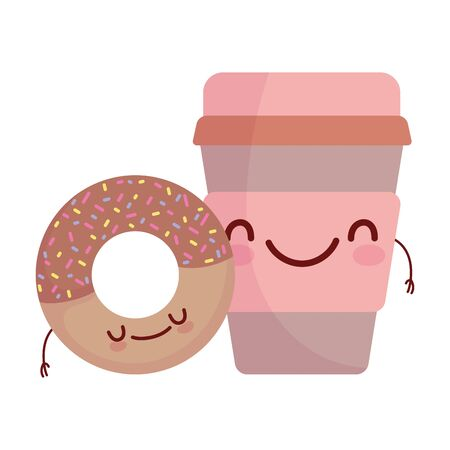 donut and coffee cup menu character cartoon food cute Иллюстрация