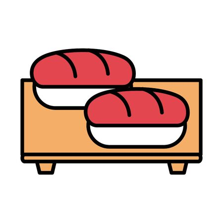 sushi oriental menu salmon in wooden board vector illustration line and fill style icon