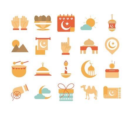ramadan arabic islamic celebration icon set tone color icon Vetores