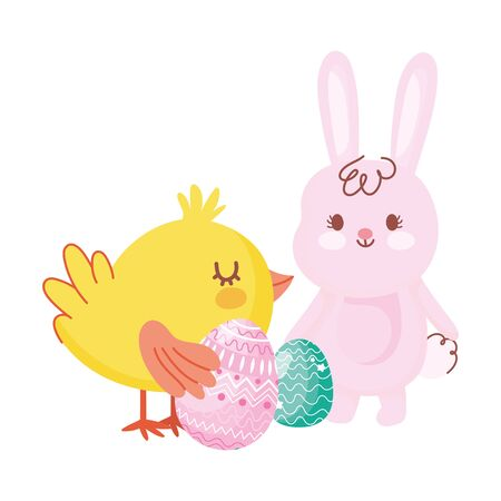 happy easter rabbit and chicken with eggs cartoon vector illustration