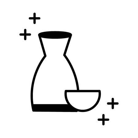 sushi oriental menu sake drink traditional vector illustration line style icon