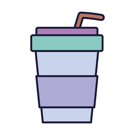 disposable cup with straw drink cartoon icon style design vector illustration