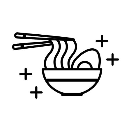 oriental menu noodles boiled egg sticks in dish line style icon Ilustracja