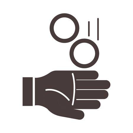hand with coins charity ramadan arabic islamic celebration silhouette style icon Vettoriali