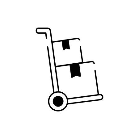 hand cart with cardboard boxes cargo delivery vector illustration line style icon Ilustração