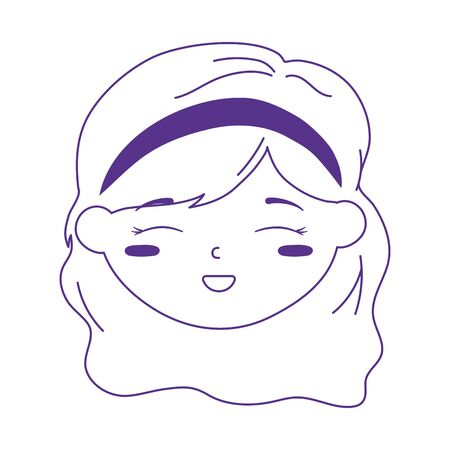 smiling little girl face cartoon character icon line style