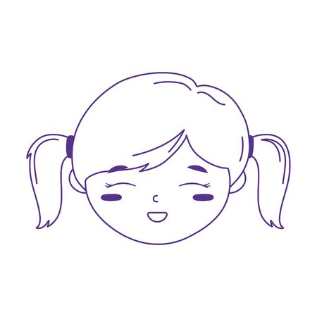 cute girl face cartoon with pony tails hair icon white background vector illustration vector illustration line style