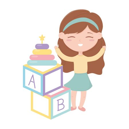 kids zone, little girl alphabet blocks and stacking tower toys