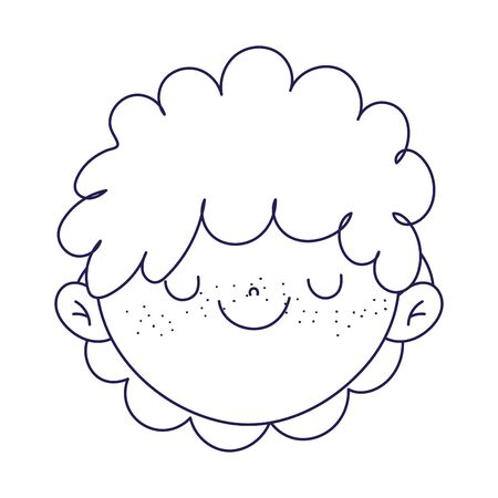 cute boy face cartoon character icon on white background vector illustration line style Illustration