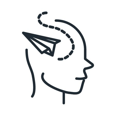 alzheimers disease neurological brain imagination vector illustration line style icon Illustration