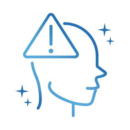 alzheimers disease neurological brain warning vector illustration gradient line icon