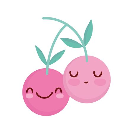 fresh cherries fruit cartoon food cute line and fill style