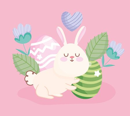 happy easter cute rabbit eggs flowers leaves floral decoration vector illustration