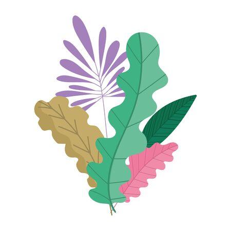foliage greenery vegetation plants leaves nature icon design vector illustration