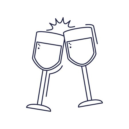 happy birthday, toast champagne cups celebration party vector illustration line style icon