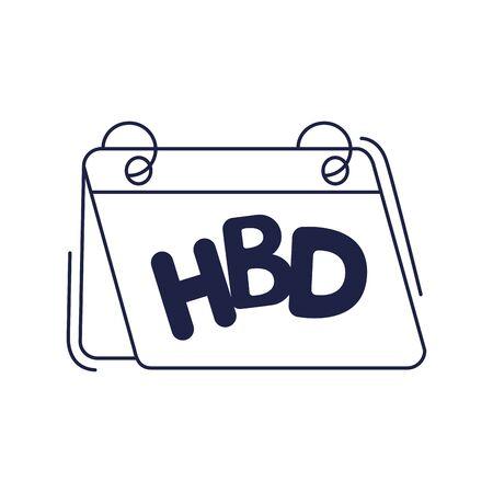 happy birthday, calendar reminder celebration party vector illustration line style icon