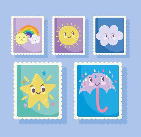 cute stamps, cartoon star umbrella rain rainbow clouds sun icons vector illustration