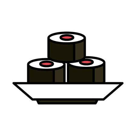 sushi rolls oriental menu food in dish vector illustration line and fill style icon Ilustração