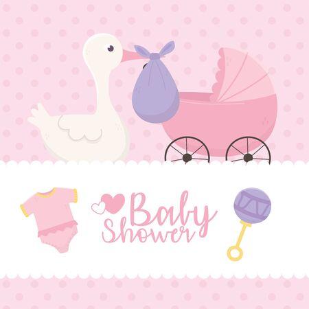 baby shower, stork with purple diaper pram bodysuit celebration vector illustration