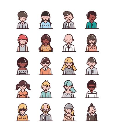 avatar male female men women cartoon character people icons set line and fill style icon Vecteurs