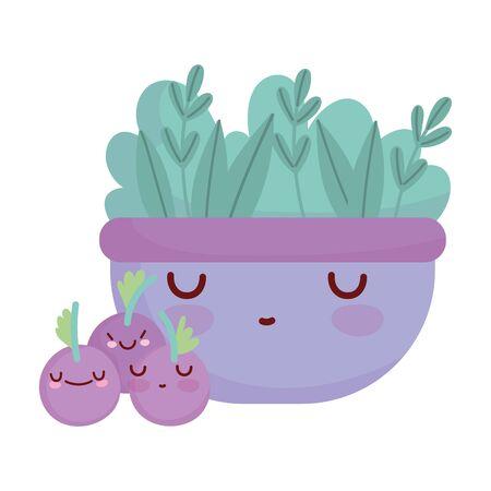 bowl with salad blueberries fruits menu character cartoon food cute