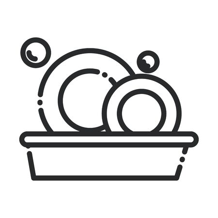 cleaning, basin with dishes kitchen washing domestic hygiene line style icon