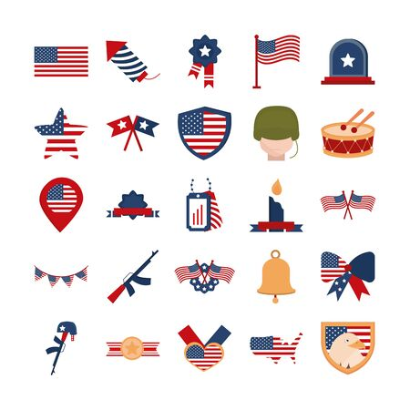 memorial day american national celebration icons set vector illustration flat style icon