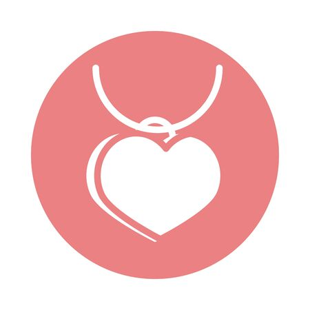 mothers day, necklace medal with heart love accessory vector illustration block style icon