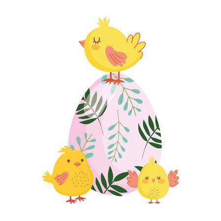 happy easter cute chickens colored egg flowers foliage nature vector illustration