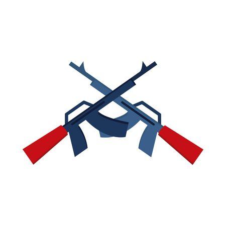 memorial day crossed gun military american celebration flat style icon
