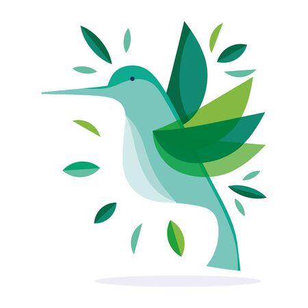 green hummingbird feather foliage nature fauna flora design vector illustration