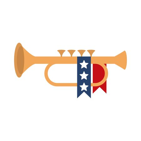 memorial day trumpet ribbon decoration american celebration vector illustration flat style icon