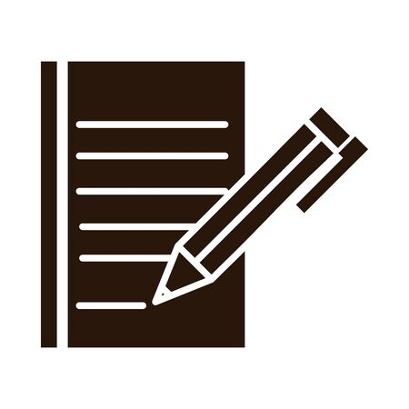 school education pen writing on paper supply vector illustration silhouette style icon