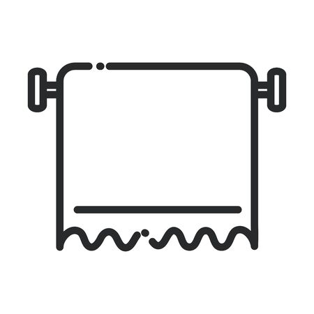 cleaning hang towel toilet equipment domestic hygiene vector illustration line style icon