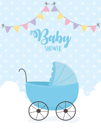 baby shower, blue pram clouds pennants dotted background vector illustration