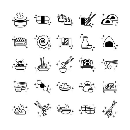 sushi oriental menu icons set line style icon Archivio Fotografico - 142165079