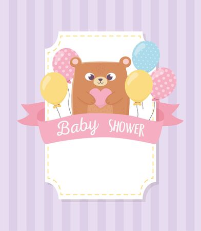 baby shower, teddy bear with balloons background