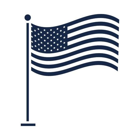 memorial day waving flag in pole american celebration silhouette style icon