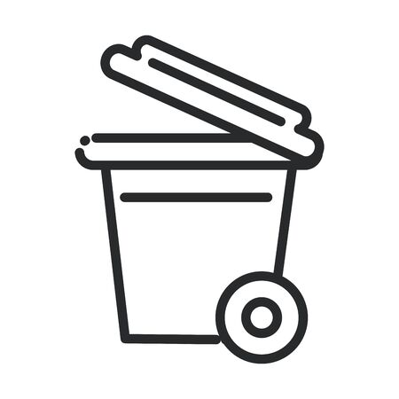 cleaning, plastic trash can with and wheels hygiene line style icon Çizim