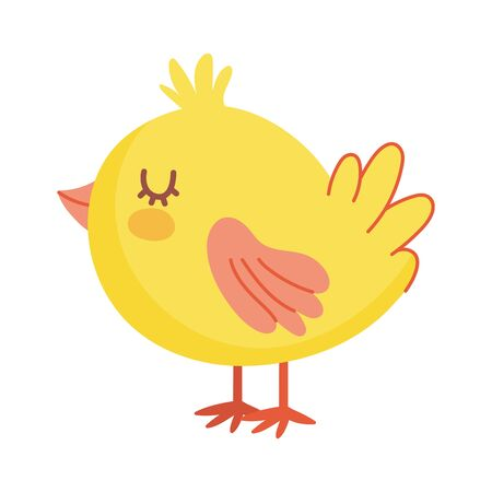 cute little chicken bird animal farm icon