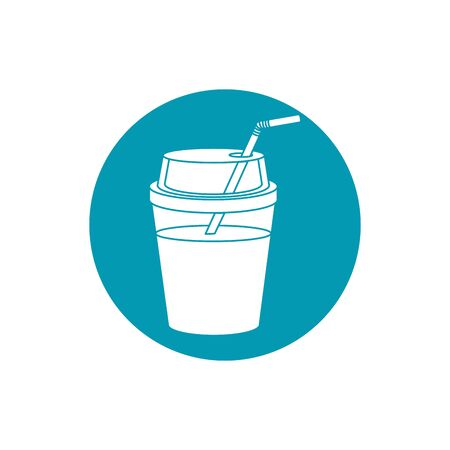 drinks cold refresh plastic cup with straw vector illustration blue block style icon Ilustração
